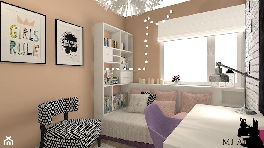 Pokój Eli - Mały szary brązowy pokój dziecka dla chłopca dla dziewczynki dla ucznia dla malucha dla nastolatka, styl prowansalski - zdjęcie od mj-atelier.com