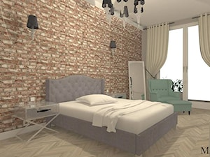 sypialnia z przeszklonymi drzwiami do łazienki