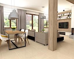Dom w Zielonce - Duży szary salon z jadalnią, styl prowansalski - zdjęcie od mj-atelier.com