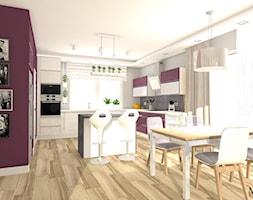 Dom pod Bydgoszczą w roli głównej fuksja - Średnia otwarta szara fioletowa jadalnia w kuchni, styl nowoczesny - zdjęcie od mj-atelier.com