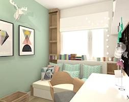 Pokój Ady - Mały biały miętowy zielony czarny pokój dziecka dla dziewczynki dla ucznia dla nastolatka, styl prowansalski - zdjęcie od mj-atelier.com