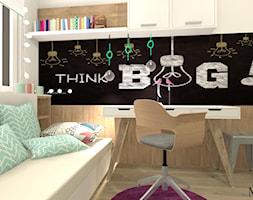 Pokój Ady - Mały szary czarny pokój dziecka dla chłopca dla dziewczynki dla ucznia dla malucha dla nastolatka, styl prowansalski - zdjęcie od mj-atelier.com