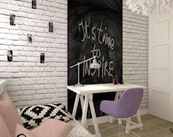 Pokój Eli - Mały szary czarny pokój dziecka dla dziewczynki dla ucznia dla malucha dla nastolatka, styl prowansalski - zdjęcie od mj-atelier.com