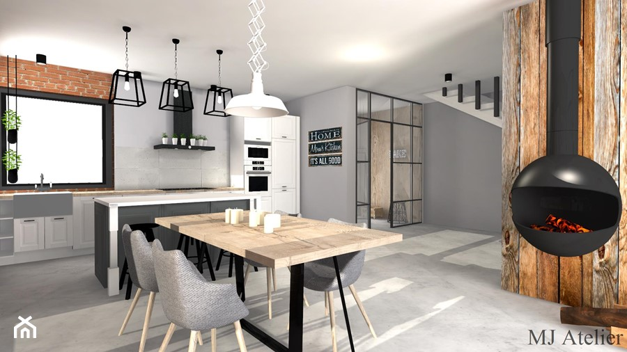 LOFT - Duża otwarta beżowa szara jadalnia w kuchni w salonie, styl industrialny - zdjęcie od mj-atelier.com
