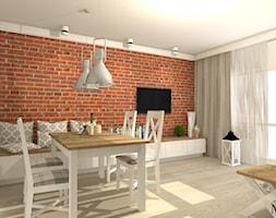 Duży szary salon z jadalnią z tarasem / balkonem, styl prowansalski - zdjęcie od mj-atelier.com