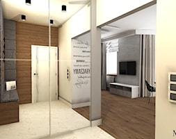Dwupoziomowe mieszkanie - Mały biały hol / przedpokój, styl nowoczesny - zdjęcie od mj-atelier.com