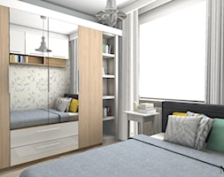 32m2 - Średnia biała sypialnia małżeńska na poddaszu, styl skandynawski - zdjęcie od mj-atelier.com