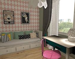 Pokój dziecka - Mały biały pastelowy miętowy różowy pokój dziecka dla dziewczynki dla nastolatka, styl skandynawski - zdjęcie od mj-atelier.com