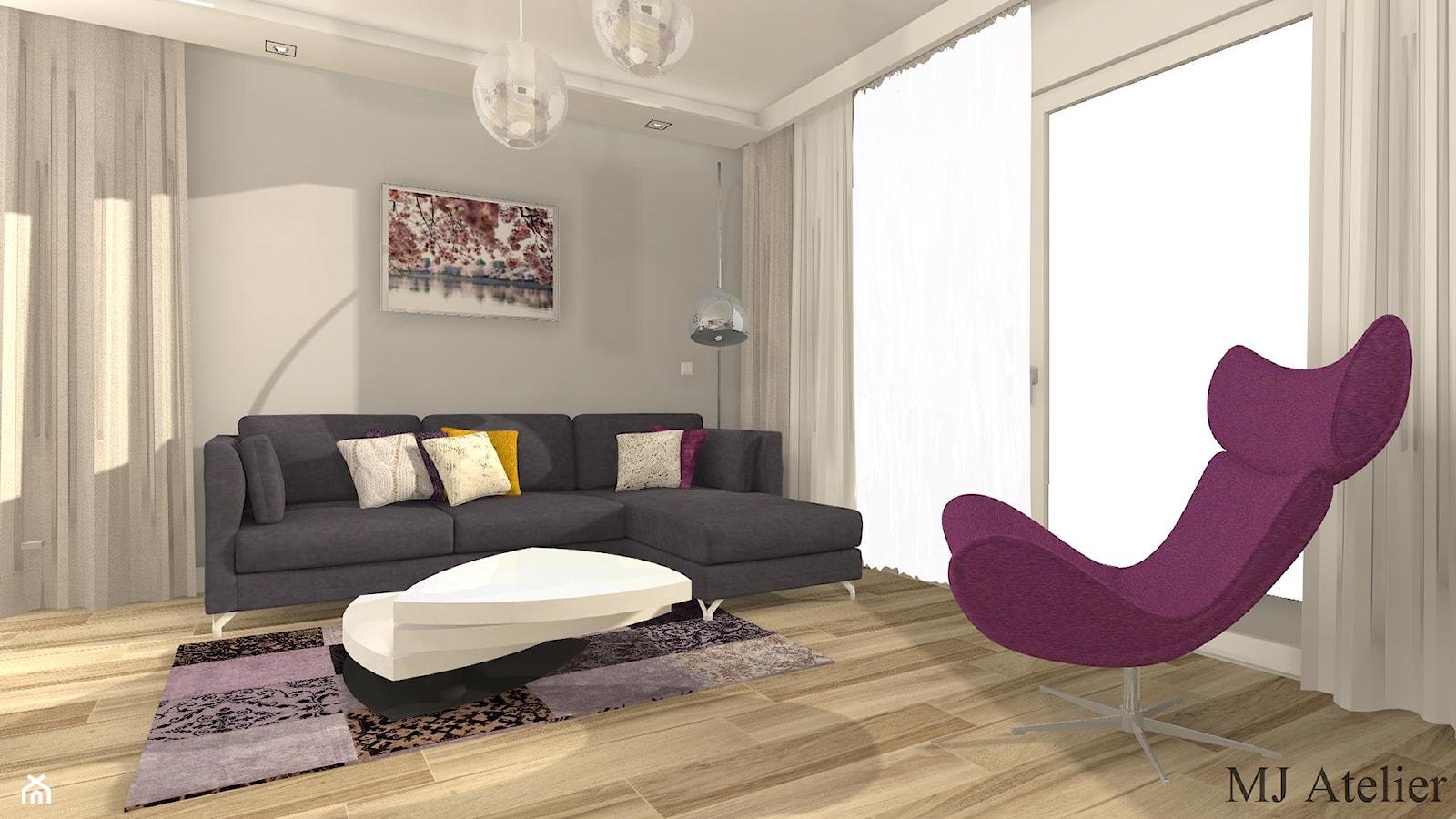 Dom pod Bydgoszczą w roli głównej fuksja - Salon, styl nowoczesny - zdjęcie od mj-atelier.com - Homebook