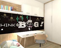 Pokój Ady - Mały szary czarny pokój dziecka dla chłopca dla dziewczynki dla ucznia dla nastolatka, styl prowansalski - zdjęcie od mj-atelier.com