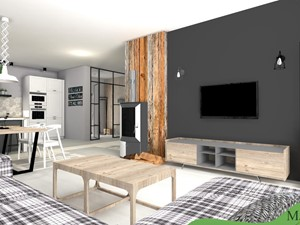 LOFT w wersji SOFT - Średni szary czarny salon z kuchnią z jadalnią, styl industrialny - zdjęcie od mj-atelier.com