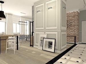 Cegła i Smeg - Średni biały szary hol / przedpokój, styl klasyczny - zdjęcie od mj-atelier.com
