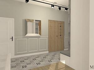 Cegła + miedź - Średni biały szary hol / przedpokój, styl klasyczny - zdjęcie od mj-atelier.com