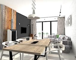 LOFT w wersji SOFT - Duża otwarta biała czarna jadalnia w salonie, styl industrialny - zdjęcie od mj-atelier.com