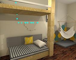 Pokój nastolatka - Średni beżowy pokój dziecka dla dziewczynki dla nastolatka, styl skandynawski - zdjęcie od mj-atelier.com