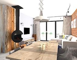 LOFT - Mały biały pomarańczowy salon z jadalnią, styl industrialny - zdjęcie od mj-atelier.com