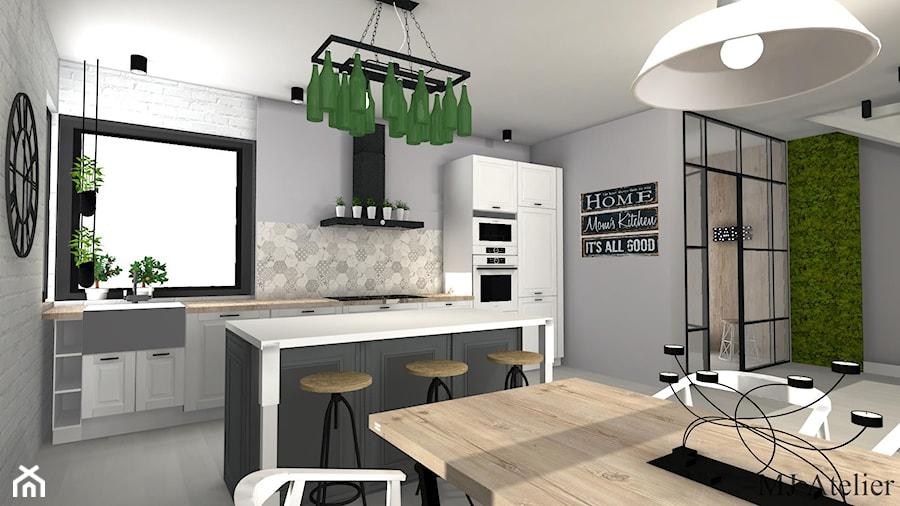 Loft W Wersji Soft średnia Otwarta Szara Kuchnia