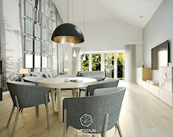 Ze Skandynawią w tle - Duża otwarta szara jadalnia w salonie, styl nowoczesny - zdjęcie od AP DIZAJN - wnętrza & dizajn