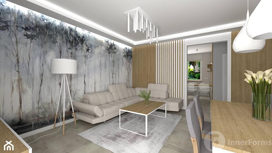 Salon z osobną kuchnią, Nowy Sącz - Salon, styl nowoczesny - zdjęcie od InnerForms