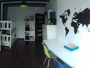 #pokojdziecka - Duży biały niebieski zielony czarny kolorowy pokój dziecka dla chłopca dla rodzeństwa dla ucznia dla malucha - zdjęcie od Agnieszka Jarosz Zabrze