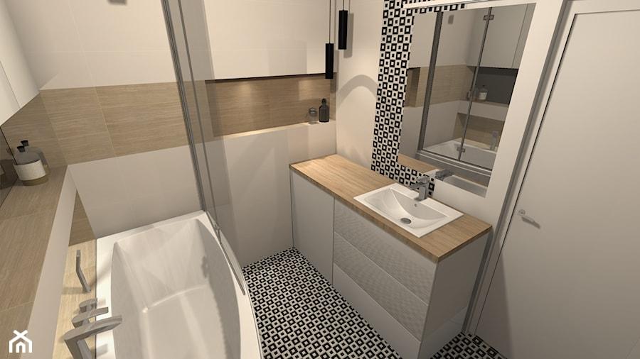 łazienka Nowoczesna Czarno Biała Mozaika I Drewno