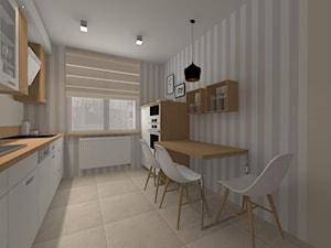 Kuchnia w ciepłych kolorach - Średnia otwarta biała beżowa kuchnia jednorzędowa z oknem, styl tradycyjny - zdjęcie od Pracownia55