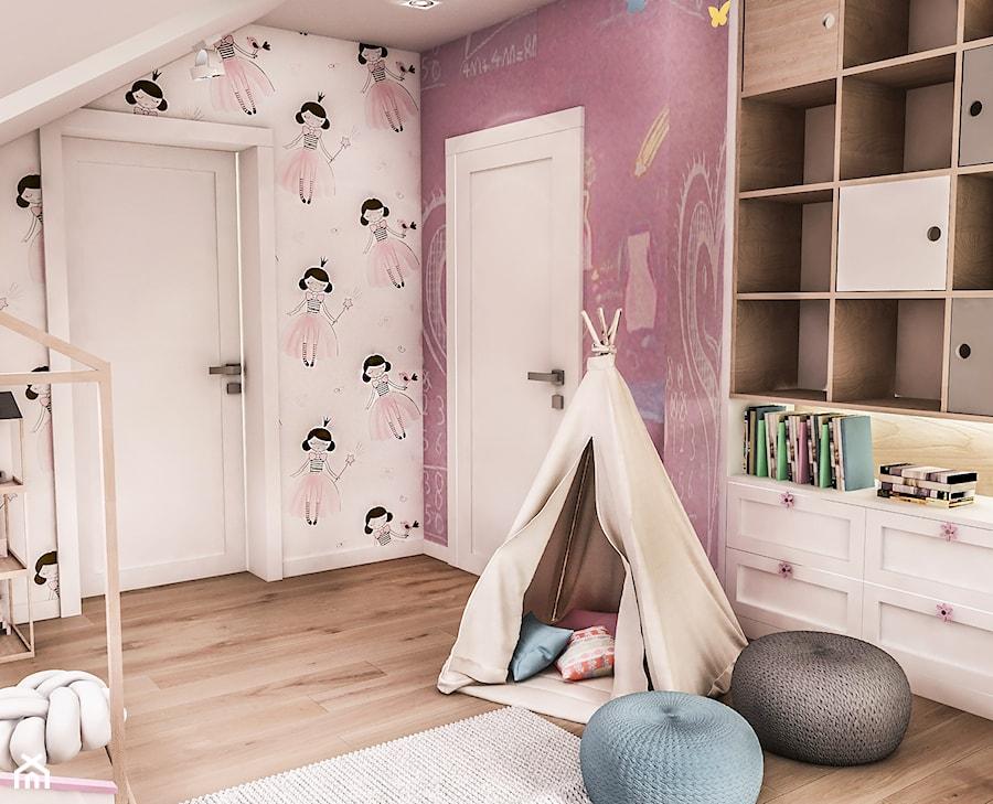 Projekt wnętrza domu pod Sewillą - Średni szary różowy pokój dziecka dla dziewczynki dla malucha - zdjęcie od BIBI