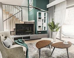 Projekt wnętrza domu pod Sewillą - Średni szary zielony salon z tarasem / balkonem - zdjęcie od BIBI