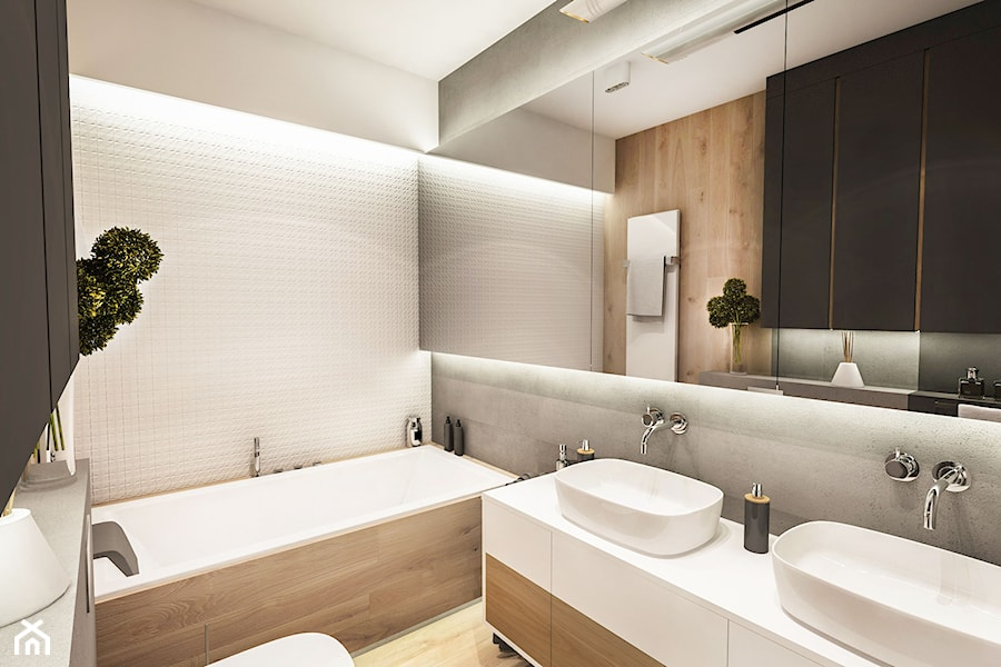 Projekt Mieszkania W-wa 2019 - Średnia czarna łazienka w bloku w domu jednorodzinnym bez okna - zdjęcie od BIBI