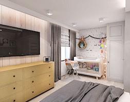 Projekt mieszkania w Łodzi 65 m2 - Średnia beżowa biała sypialnia małżeńska, styl skandynawski - zdjęcie od BIBI - Homebook