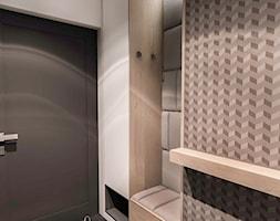 Projekt mieszkania 70m2- Wawa 2017 - Mały biały szary hol / przedpokój, styl nowoczesny - zdjęcie od BIBI