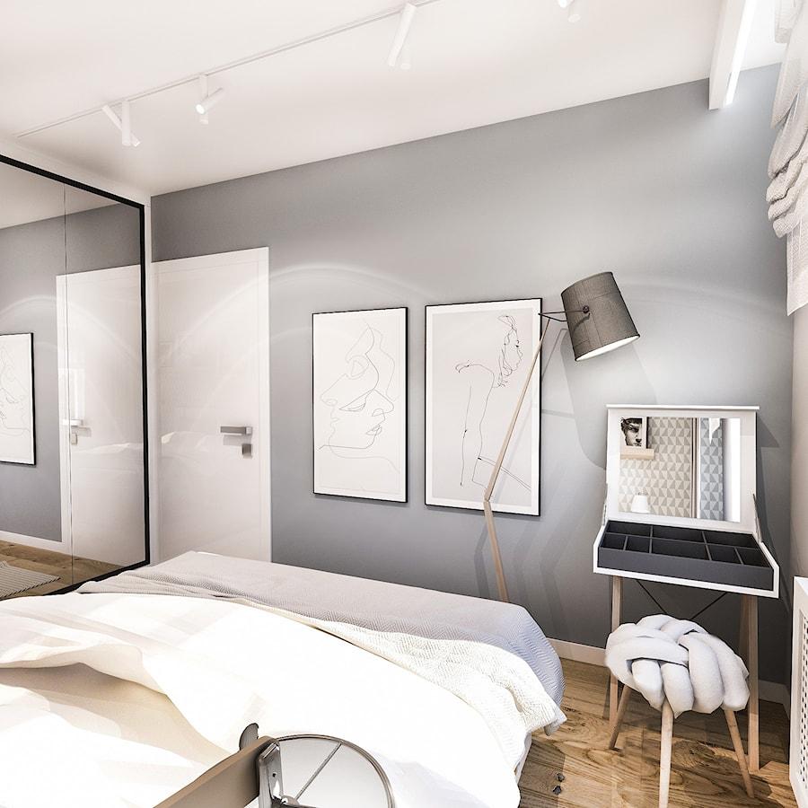 PROJEKT SYPIALNI - Średnia szara sypialnia małżeńska, styl skandynawski - zdjęcie od BIBI