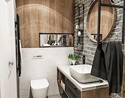 ŁAZIENKA MAŁA - WROCŁAW 2019 - Mała biała szara łazienka w bloku bez okna, styl vintage - zdjęcie od BIBI