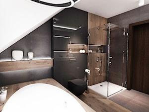 PROJEKT ŁAZIENKI 2017 Łódź - Średnia czarna łazienka na poddaszu w domu jednorodzinnym bez okna, styl nowoczesny - zdjęcie od BIBI