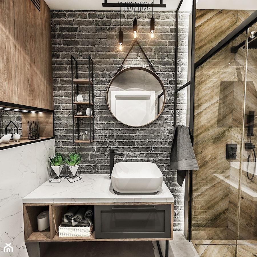 ŁAZIENKA MAŁA - WROCŁAW 2019 - Mała biała czarna szara łazienka bez okna, styl vintage - zdjęcie od BIBI