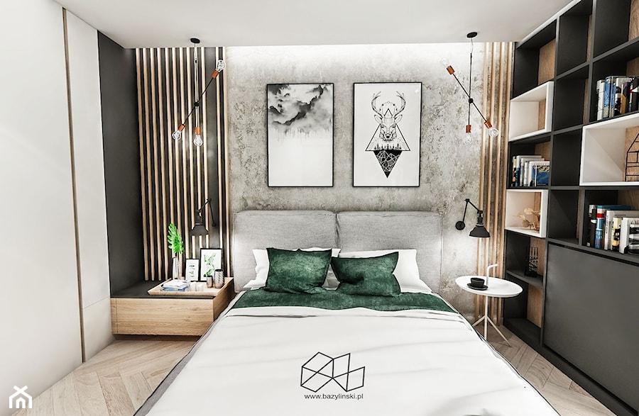 SYPIALNIA W KAWALERCE ŁÓDŻ 2019 - Średnia szara sypialnia małżeńska, styl vintage - zdjęcie od BIBI