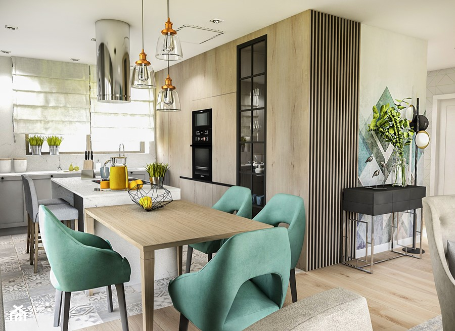 Projekt wnętrza domu pod Sewillą - Średnia szara kuchnia w kształcie litery l w aneksie z wyspą z oknem - zdjęcie od BIBI