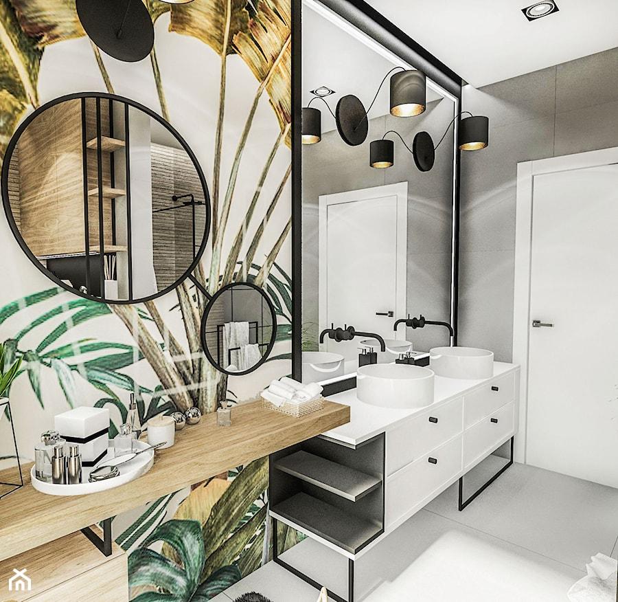PROJEKT ŁAZIENKI - ZIELONA 2019 - Średnia biała szara kolorowa łazienka z oknem, styl vintage - zdjęcie od BIBI