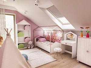 Projekt wnętrza domu pod Sewillą - Średni szary różowy pokój dziecka dla dziewczynki dla ucznia dla malucha dla nastolatka - zdjęcie od BIBI