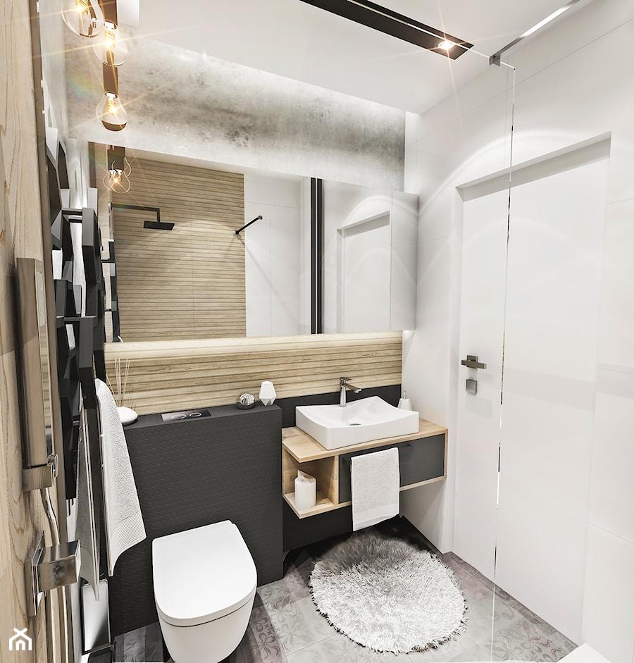 Projekt mieszkania - Gdańsk 2019 r. - Mała czarna szara łazienka w bloku w domu jednorodzinnym bez okna, styl industrialny - zdjęcie od BIBI