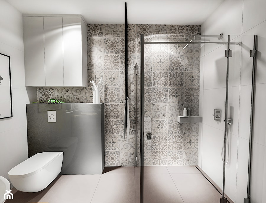 Projekt łazienki Au 2018 średnia Szara łazienka W Bloku