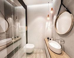 PROJEKT ŁAZIENKI - WAWA 2017 r. - Średnia czarna łazienka w bloku w domu jednorodzinnym bez okna, styl nowoczesny - zdjęcie od BIBI
