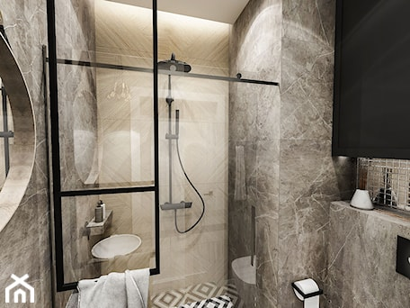 Aranżacje wnętrz - Łazienka: Projekt małej łazienki - Średnia czarna łazienka w bloku w domu jednorodzinnym bez okna, styl art deco - BIBI. Przeglądaj, dodawaj i zapisuj najlepsze zdjęcia, pomysły i inspiracje designerskie. W bazie mamy już prawie milion fotografii!