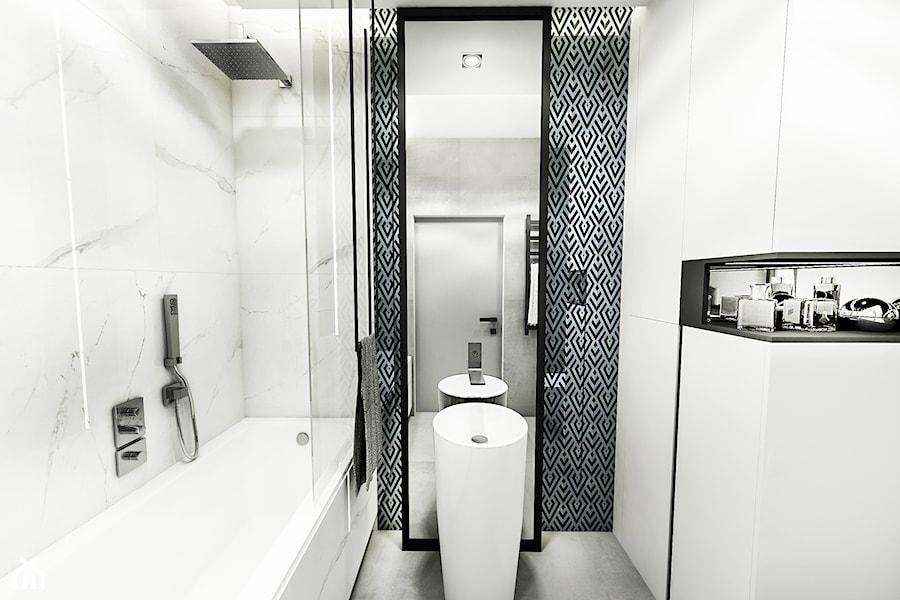 PROJEKT MIESZKANIA - LDZ 2018 - Mała biała łazienka - zdjęcie od BIBI
