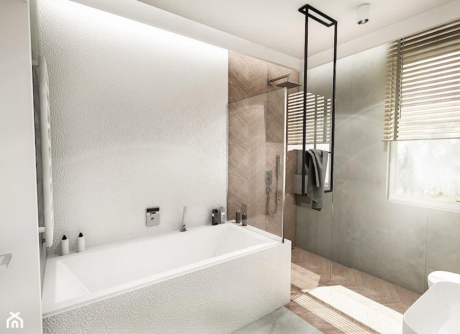 Projekt domu pod Nowym Sączem - Średnia biała łazienka w bloku w domu jednorodzinnym z oknem - zdjęcie od BIBI