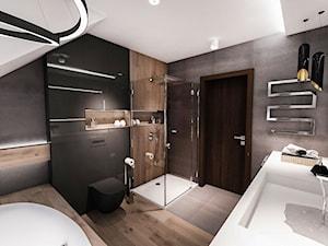 PROJEKT ŁAZIENKI 2017 Łódź - Średnia łazienka na poddaszu w domu jednorodzinnym z oknem, styl nowoczesny - zdjęcie od BIBI