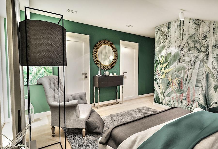 Projekt wnętrza domu pod Sewillą - Średnia zielona sypialnia małżeńska na poddaszu - zdjęcie od BIBI
