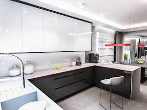 Projekt domu pod Łodzią - Średnia otwarta biała kuchnia w kształcie litery g z oknem, styl nowoczesny - zdjęcie od BIBI