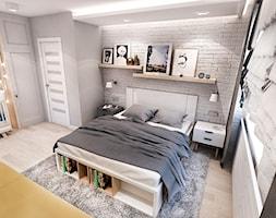 Projekt mieszkania w Łodzi 65 m2 - Duża szara sypialnia małżeńska, styl skandynawski - zdjęcie od BIBI - Homebook
