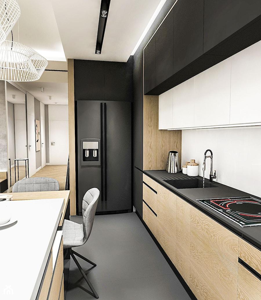 Projekt Mieszkania W Wa 2019 średnia Otwarta Biała Czarna Kuchnia